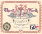 City of Fort Worth Participation Certificate, Texas Sesquicentennial