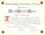 Teachers State Association of Texas Citation to Hazel Harvey Peace for the Panorama of Progress