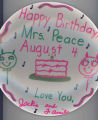 Happy Birthday Plate to Mrs. Peace from Jackie and family