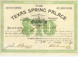 Texas Spring Palace Stock Certificate