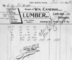 Invoice from William Cameron, Dealer in Lumber