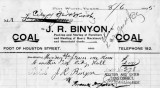 Invoice from J.R. Binyon Coal