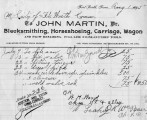 Invoice from John Martin, Blacksmith
