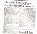 Financial Reports Made on War Housing Projects